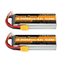 2pcs 14.8V 3300mAh 4S LiPo Battery 50C XT90 for RC Helicopter Airplane Truck