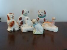 More details for group of six small staffordshire ceramic  dogs / wally dogs