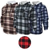 HanTon Men's 2 Pocket Sherpa Heavyweight Hooded Fleece Flannel Plaid Jacket