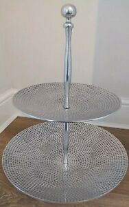 Metal Two Tier Display Stand Tray Curved Fruit Cake Centrepiece