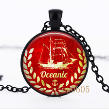 Anchor Red Boat photo Glass Dome black Chain Pendant Necklace wholesale
