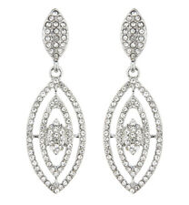CLIP ON EARRINGS - silver plated dangle earring with clear crystals - Brice