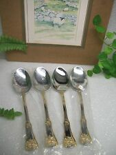 NEW 4 Royal Albert OLD COUNTRY ROSES  18/10  Stainless Steel & Gold Place Spoons