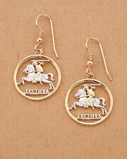 """Coins,3/4"""" in Diameter,( # 227E ) Lithuanian Coin earrings, Hand Cut Lithuanian"""