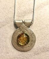 Handcrafted Dichroic Fused Glass Pendant Set in Antique Silver *FREE SHIPPING