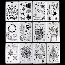 12pcs/set Christmas Drawing Template Ruler Stencil Painting Board Album Art DIY