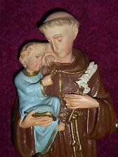 ANCIENNE STATUE RELIGIEUSE: Saint ANTOINE & JESUS / PLATRE POLYCHROME /N°6