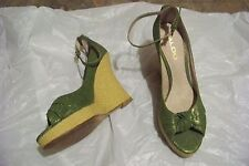 womens aldo green open toe ankle strap wedge heels shoes size 39