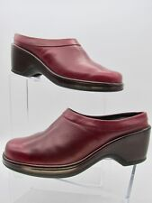 Dansko Women's 9.5 / 10 EU 40 Leather Slides Mules Clogs Burgundy Red Shoes