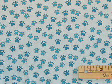 Miss Kitty's Colors Blue Animal Cat Dog Paws Fabric by the 1/2 yd  #6411