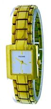 New Old Stock Square Ladies Pulsar Watch Gold Plated S . Steel With Orginal Box