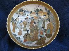 "Beautiful Japanese Satsuma Art Pottery Bowl-Signature-5""X2""Meiji period-Samurai"