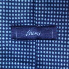 BRIONI Tie 100% Silk White/Blue Color L63 W3.5