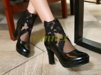 Chic Women's Lace High Block Heels Zip Up Ankle Boots Platform Plus Size Shoes