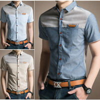 Men's Casual Fashion Young Luxury  Slim Fit Short Sleeve Dress Shirts DS103