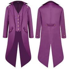 Men's Vintage Long Jacket Tuxedo Tail Coat Jacket Overcoat Uniform Outwear Coat