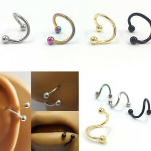 Twisted Stainless Steel Ear Stud Lip Ring Nose Hoop Ring Body Piercing Jewelry