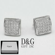 DG Men's Sterling-Silver 925.Iced-Out CZ 6mm Square Studs Earring Unisex..Box