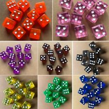 10x Six Sided D6 16mm Acrylic Transparent Straight Corner Dice Role Playing Game