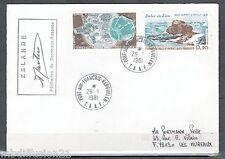 1981-LETTRE TAAF-AUSTRALES-SATELLITES-ROCHER DU LION-TIMBRES-Yt.PA.56/7