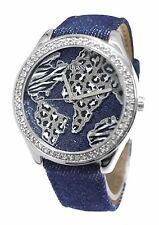 GUESS LADIES SILVER WORLD CRYSTAL WATCH, NEW WITH TAGS, IN CASE, U0504L1, NEW