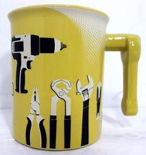 Vtg 2011 Menard's Hardware Tool Themed Pale Yellow Coffee Mug Coffee Cup Ceramic