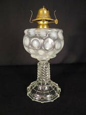 1880's Mix-N-Match White Opalescent 'Coin Spot' Kero Oil No. 2 Stem Stand Lamp