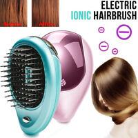 Portable Electric Ionic Hairbrush Styling Vibration Massager Hair Brush Travel