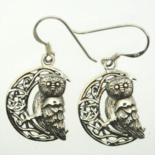 Wise Owl Celtic Crescent Moon Sterling Silver Dangly Earrings Lisa Parker Pagan