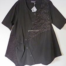 KEKOO tolle Tunika Long Bluse Shirt Patch washed out look schwarz 46-48