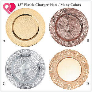 BULK Acrylic Plastic Charger Plate Shiny Pattern Finish Rose Gold Silver Red 1-8