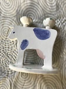 Studio Art POTTERY Cow Candle Holder Blue Simple Signed Handmade