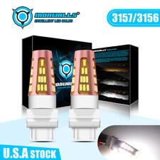 2x IRONWALLS 3157 3155 3457 3014 LED Fog Lights 6000K White Turn Signal Bulb Kit