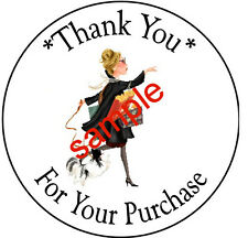 SHOPPING LADY #24  LARGE ROUND THANK YOU STICKERS