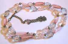 Lovely long beaded necklace pink blue tinted bronze tone metal chain 84 - 110 cm