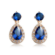 18K  ROSE GOLD/P GENUINE SAPPHIRE BLUE CZ & AUSTRIAN CRYSTAL DANGLE  EARRINGS