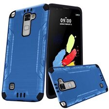 Blue Slim Brushed Case Cover For LG Stylo 2 Plus MS550 /K550 Phone