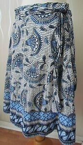 Next Blue & White Flare A line Flippy Belted Fan Print Sequin Skirt 10 W28 L25