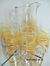Vintage Mid Century Libby Yellow / Orange Wheat Tumblers (4)& 2 qt Pitcher,1960s