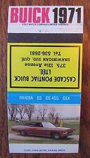 1971 BUICK CAR DEALER: CASCADE PONTIAC BUICK (SHAWINIGAN SUD, QUEBEC) -MY1