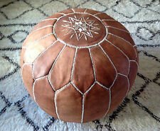 Marocchino TAN HAND STITCHED Leather Pouf
