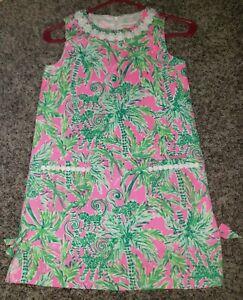 Lily Pulitzer Dress Girls 10 NWT Pink Green Shift Style Monkey Palm Tree