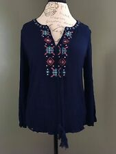 Daniel Rainn Womens Small Navy Blue Long Sleeve Boho Aztec V-Neck Detail Top E6
