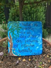 Handcrafted cement blue square wall plaque with tree/flowers/poem/garden/ yard