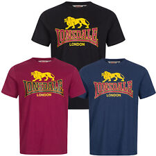 Lonsdale Classic Logo T-Shirt Black Oxblood Blue 100% Cotton Regular Fit Hemd
