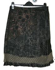 VILA SMALL UK10 EU38 BLACK/BROWN DECOR MOCK WRAP SKIRT WITH SEQUINS/LUREX