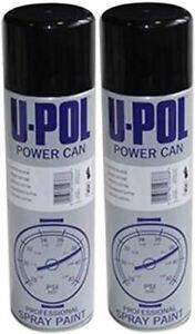 2 x U-POL GLOSS BLACK POWER CAN AEROSOL PROFESSIONAL SPRAY PAINT 500ml