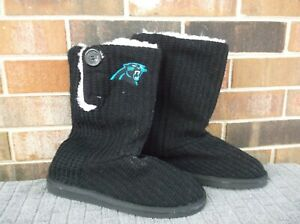 Carolina Panthers Women's Forever Collectible NFL Button Boot Slipper Size M