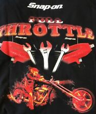 Snap On T Shirt Black Full Throttle Motorcycle On Back NWT TS4 Size S