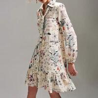 Tory Burch Cora Silk Printed Long Sleeve button Down Ruffle Hem Shirt Dress $498